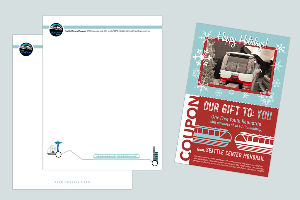 Letterhead and Coupon/Postcard – Seattle Monorail